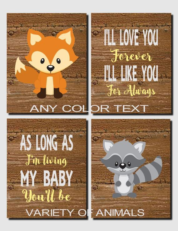 Woodland Nursery Wall Art, Carters Forest Friends, Woodland Decor, Baby Boy, Fox, Racoon, I'll Love You Forever, Set of 4, Prints or Canvas