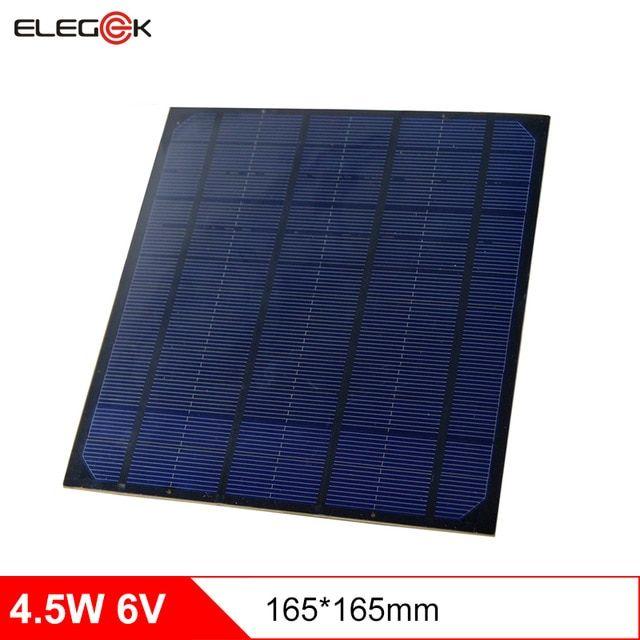Elegeek 4 5w Monocrystalline Silicon Solar Cell Panel 750ma Diy Pet Solar Panel Module 6v For Mini Solar System Test 165 165mm Review Solar Cell Solar Panels Best Solar Panels