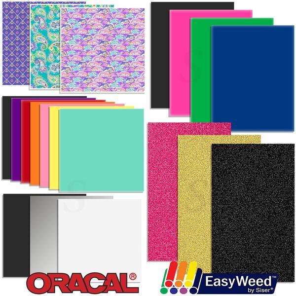 Oracal Vinyl and Siser EasyWeed Heat Transfer Starter Sample Pack - 20 Sheets