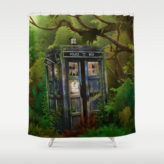 Abandoned Tardis doctor who in deep jungle SHOWER CURTAIN #showercurtain #shower #bathroom #acrylic #watercolor #ink #comic #3d #popart #doctorwho #davidtennant #10thdoctor #tardisdoctorwho #timemachine #tardis #vangogh #jungle #woods #phonebooth