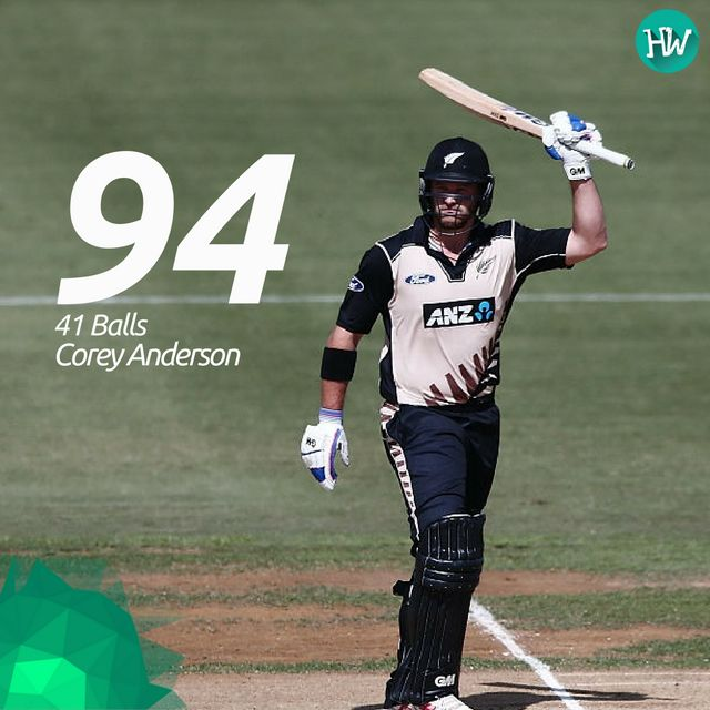 Corey Anderson's knock helped the Kiwis to post a gigantic 194, which in turn helped them to raze the visitors!  #NZvBAN #coreyanderson #newzealand Blackcaps