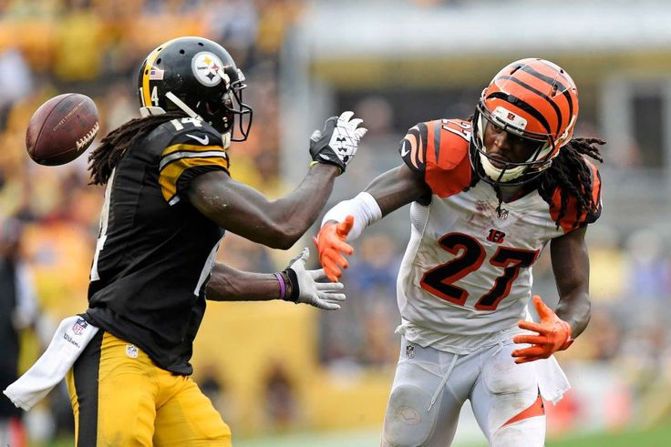 Bengals vs. Steelers:    Updated September 18, 2016  -  By THE ASSOCIATED PRESS  -     PITTSBURGH — Ben Roethlisberger threw for 259 yards and three touchdowns to offset a pair of interceptions and the Pittsburgh Steelers beat the Cincinnati Bengals 24-16 on Sunday.  -  Cincinnati Bengals cornerback Dre Kirkpatrick (27) breaks up a pass intended for Pittsburgh Steelers wide receiver Sammie Coates (14) during the second half of an NFL football game in Pittsburgh, Sunday, Sept. 18, 2016.