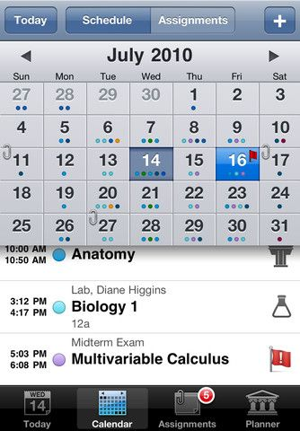 ) this app allows college students to organize their class, lab and semester schedules, along with assignments, project deadlines etc.