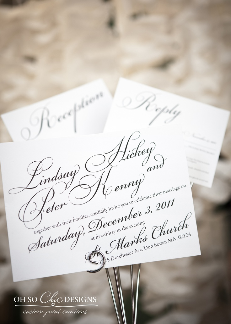 wedding invitation wording for hindu marriage%0A These black and white wedding invitations feature a beautiful script font  throughout the entire wedding suite