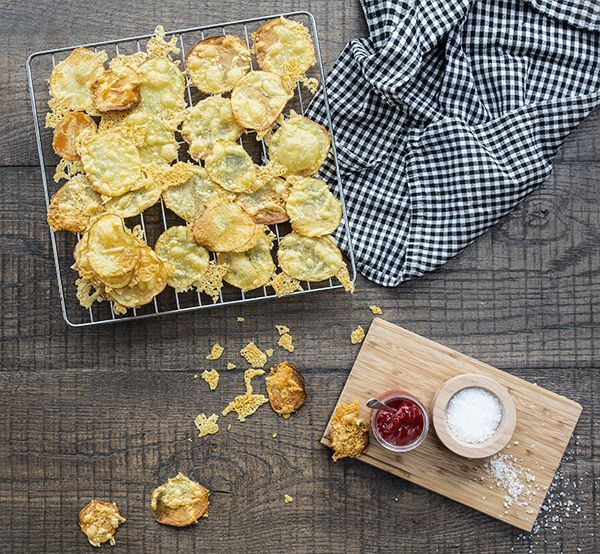 Potato & Egmont Cheese Crisps. Serve this crispy, cheesy comfort food with our crumbed fish recipe or with a BBQ steak. 25 mins, serves 6.