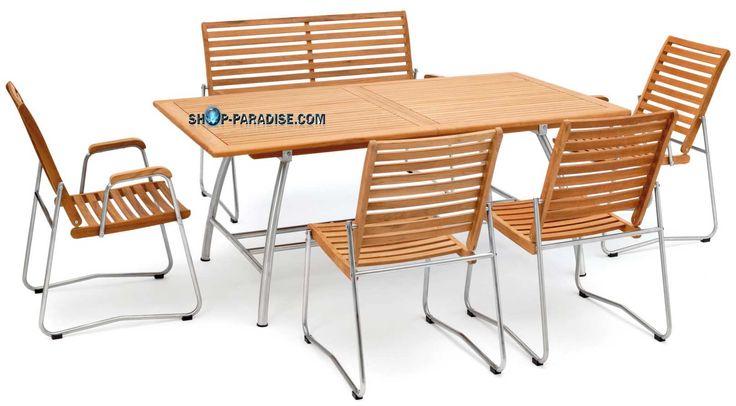 SHOP-PARADISE.COM:  Teakmöbel-Set Tisch + 4 Stühle und Bank, Mix Teak Edelstahl 2 110,99 €