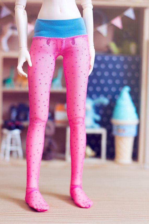 Pink glitter Tights for MSD Unoa MNF size by sugardollshop on Etsy, $13.00