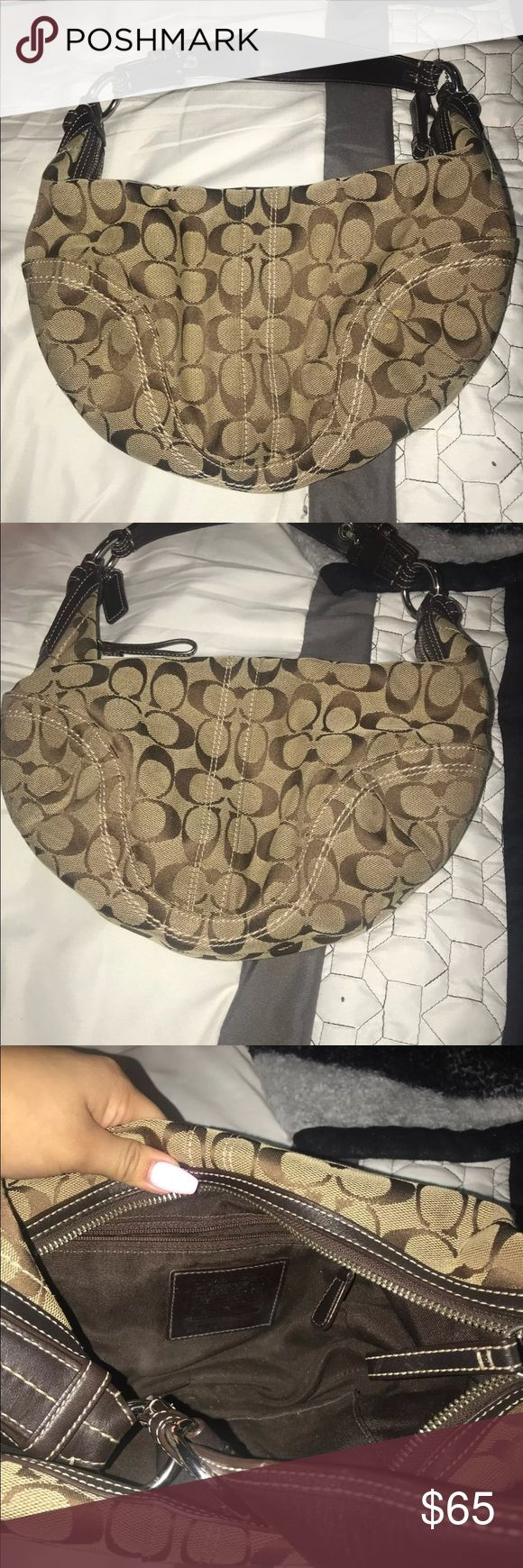Coach Purse In great condition, no tears. The only flaws are some minor dirt marks on the fabric. However, I'm sure it is removable with proper cleaning. Coach Bags Shoulder Bags