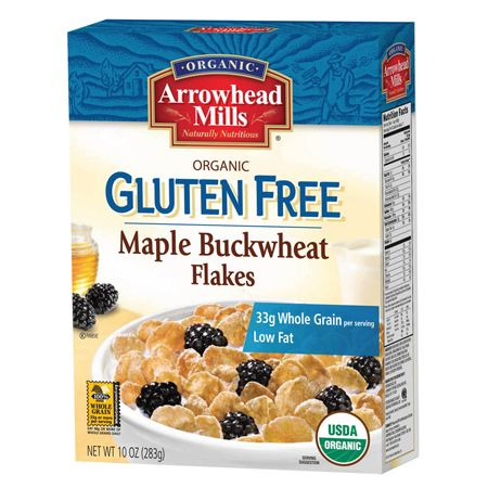 It's easy to have that wholesome goodness when you start the day with Arrowhead Mills deliciously crunchy toasted Maple Buckwheat Flakes Cereal. This low fat and cholesterol free lightly sweetened whole grain cereal is reminiscent of grandma's buckwheat pancakes covered with maple syrup.