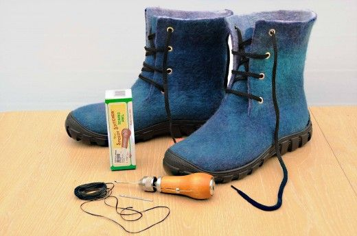 Wet Felted Boots ready to be attached to rubber soles with Speedy Sewing Awl and…