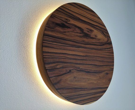 LED Wood Sconce, Wooden Wall Lamp, LED Light, Natural Wood