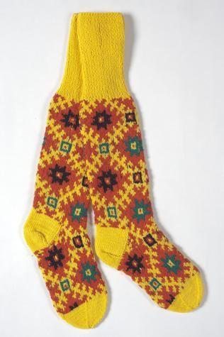 Socks - Anita Apinis, Latvian, Alsunga Region, Knitted Yellow with Orange Pattern, Melbourne, 1970s - Museum Victoria