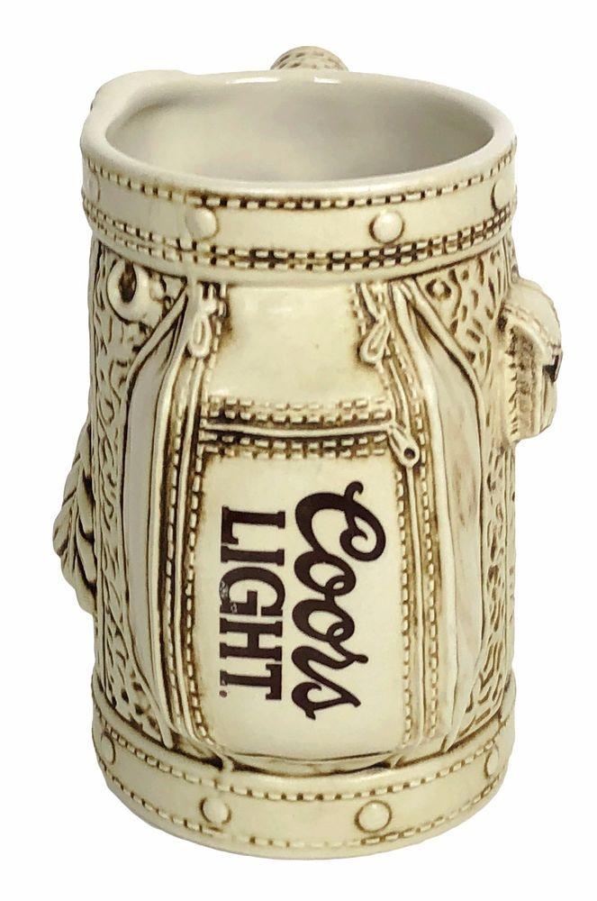 "Coors Light Beer Golf Bag Stein Tall Coffee Mug Ivory Brown 5.5"" Tall Thailand #CoorsLight"