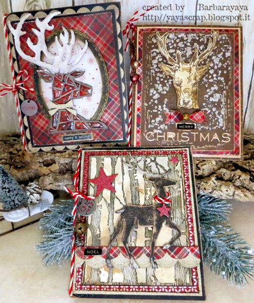A gorgeous trio of Christmas deer cards made with lots of Tim goodness.