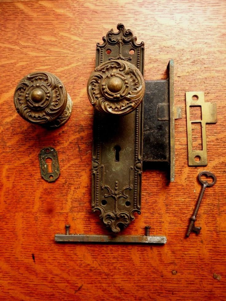 Antique Entry Door Set Bronze Doorknobs Doorplates Lock c1905 Corbin