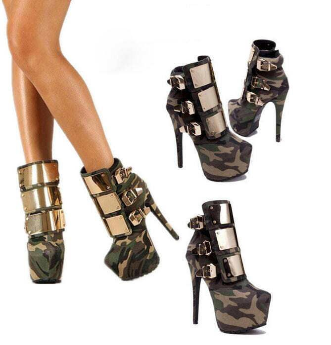 Womens Metal Buckle Board Ridding Camo High Heel Platform Ankle Boots Stilettos