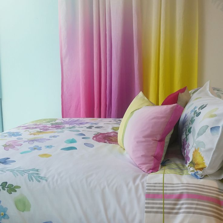 Pretty as a picture... Bluebellgray duvet cover with Designers Guild fabric curtains