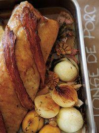 Longe de porc, sauce à l'érable et aux poires