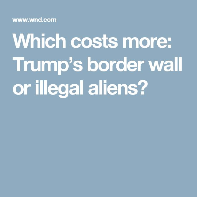 Which costs more: Trump's border wall or illegal aliens?