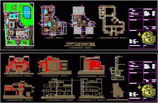 Génie civil et Travaux Publics Engineering Plan bloc autocad dwg: Plan Autocad dwg d'une magnifique villa
