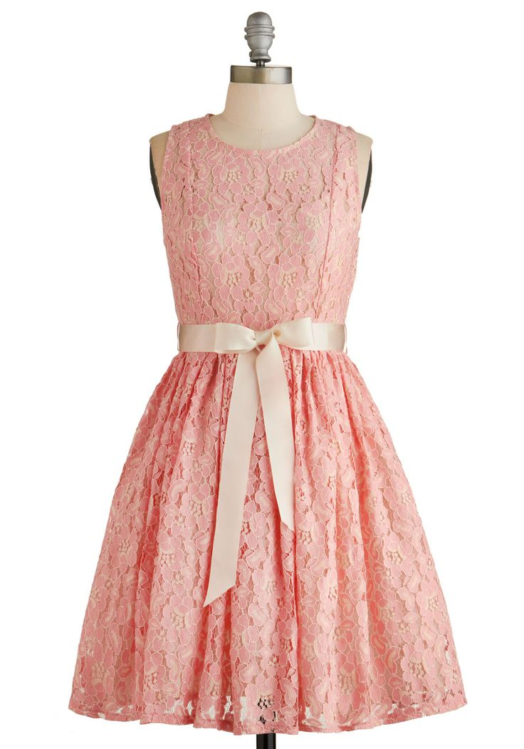 Photo Al Fresco Dress. You feel like royalty as you pose for outdoor pictures in this pink lace dress! #pink #wedding #bridesmaid #prom #modcloth
