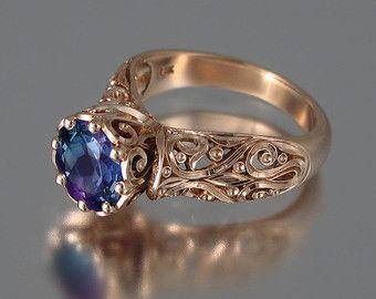 La Princesa Encantada 14k rose oro anillo de compromiso de Alejandrita