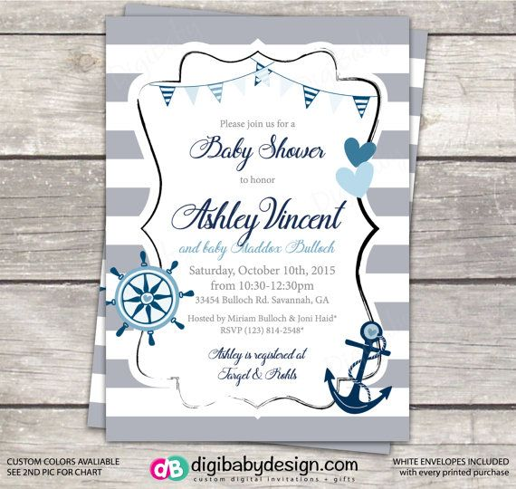Nautical anchor baby boy baby shower invitation by DigiBabyDesign