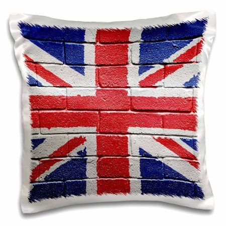 3dRose UK United Kingdom Great Britain British flag on brick wall national country, Pillow Case, 16 by 16-inch