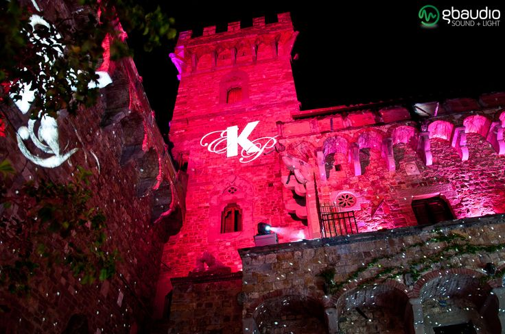 Lighting tower and gobo projection at Castello di Vincigliata - Florence, Italy.