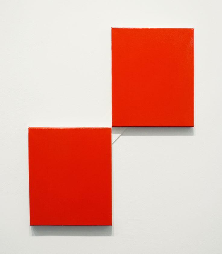 John Nixon, Red Monochrome, 2013-2014, Enamel on 2 canvases, 23.5 x 19.5 inches, JN10