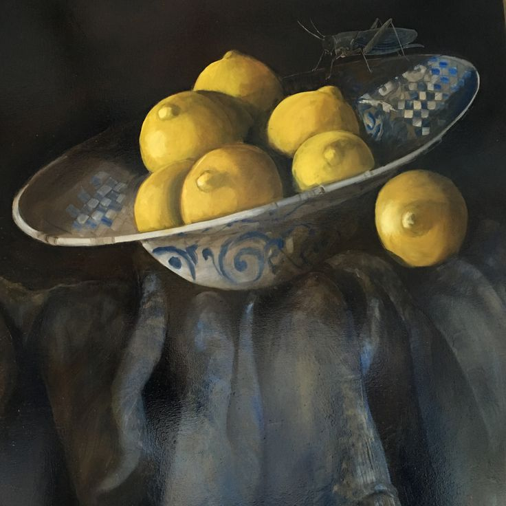 Diana Watson detail Lemons in a Blue Bowl with Grasshopper