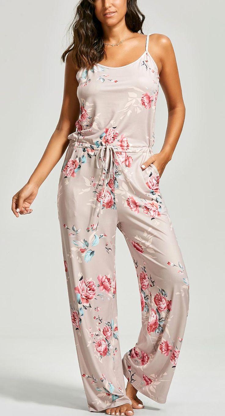 Floral Print Slip Drawstring Jumpsuit