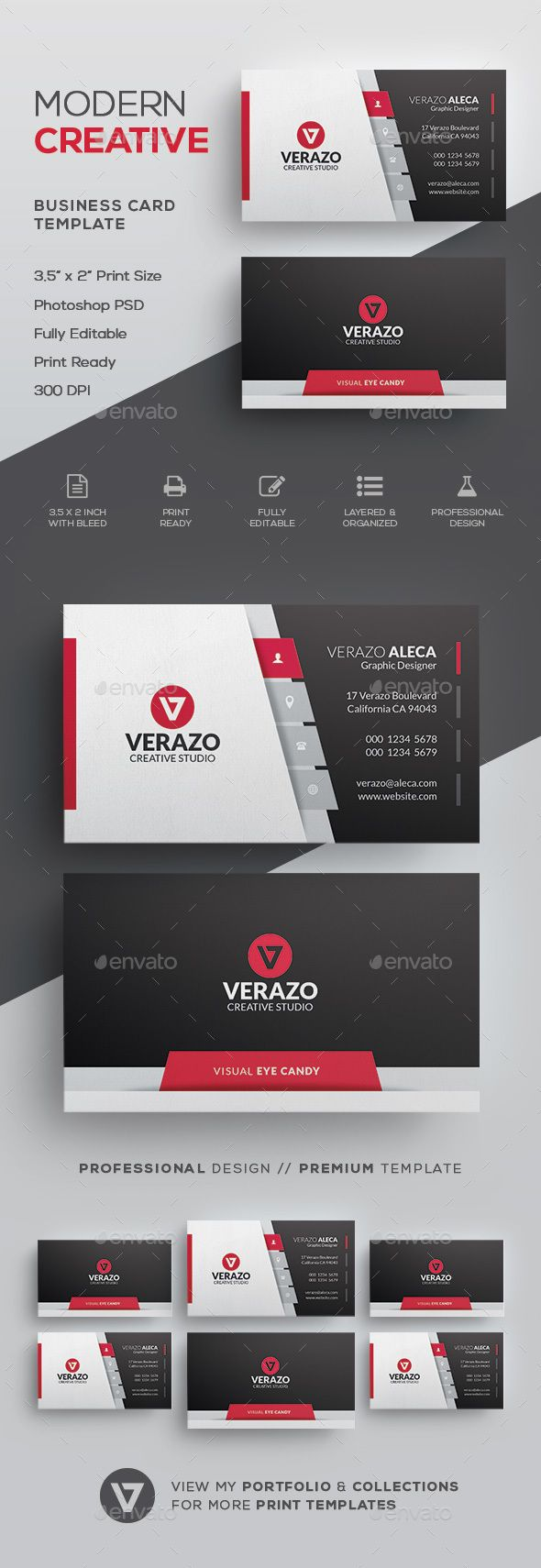 Creative Modern Business Card Template by verazo Need more high quality business card? View my Business Card Templates Collection OR Save Money! Buy Business Card Bundle for only