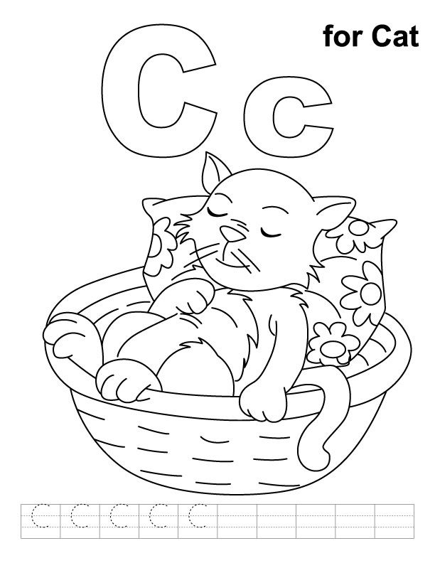 C For Cat Coloring Page With Handwriting Practice Cat Coloring