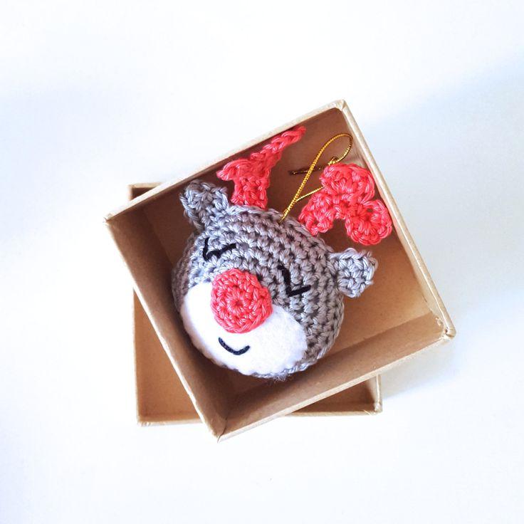 Christmas ornament Rudolph door StudioSuZcreations op Etsy