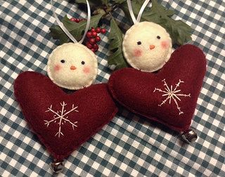 Snowman Embroidered Heart Ornament   by LookHappyShop