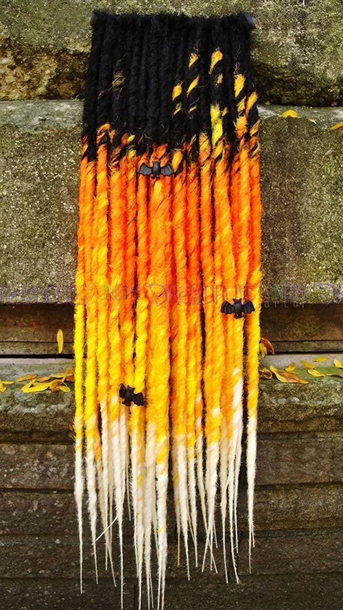 """Halloween """"Licorice & Candy Corn"""" SE Dreads. A Halloween-inspired set of 30 extra-long, single-ended dreads; quadruple-transitioning from black, to citrus orange, to citrus yellow to white. Inspired by candy corn, falling leaves, and autumnal comforts."""