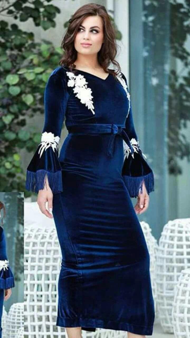 فستان قفطان ازرق Velvet Dress Long Classy Dress Fashion Dresses
