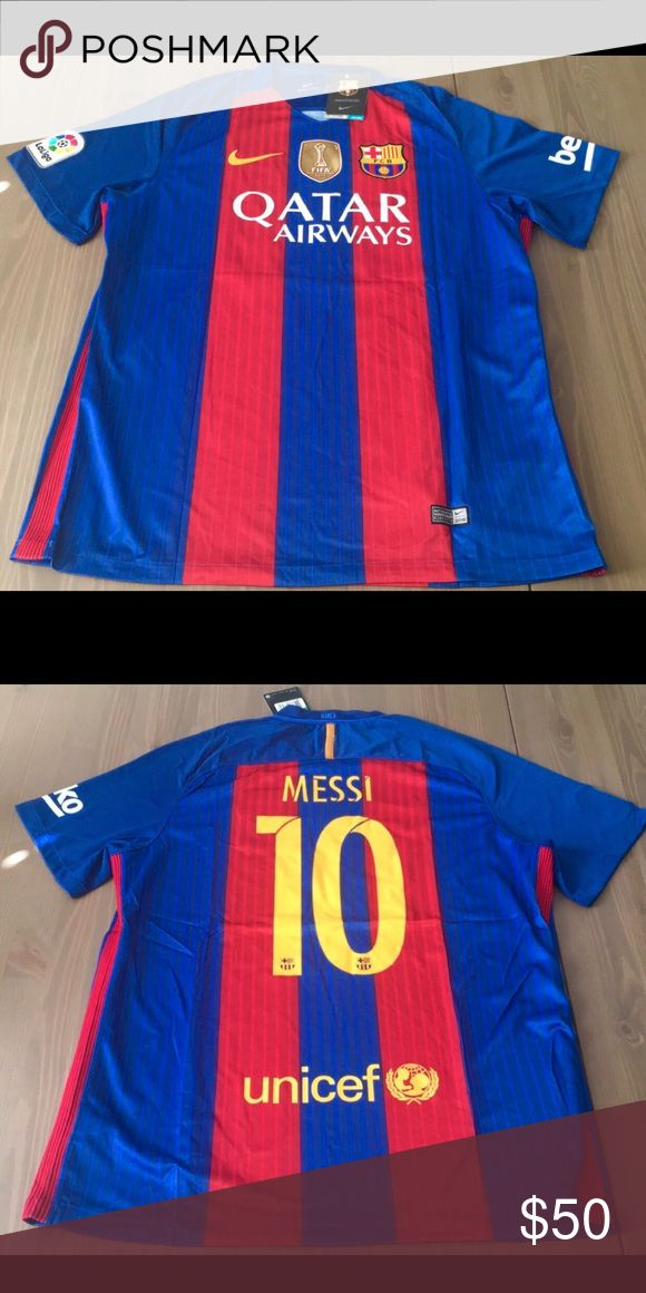 Messi #10 16/17 Barcelona Jersey liga and Soccer Messi #10 New Season 16/17 Barcelona Barca home Jersey liga and Beko Patch Soccer Nike Gold fifa patch Nike Shirts Tees - Short Sleeve