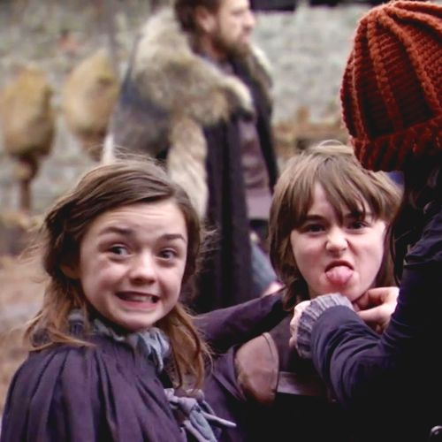 Maisie Williams and Isaac Hempstead Wright on the set of Game of Thrones season 1