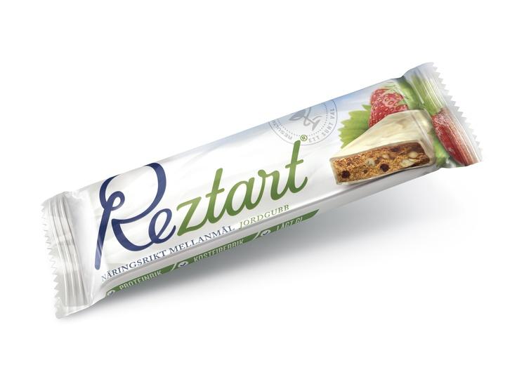 Reztart Jordgubb är ett näringsrikt mellanmål med lågt GI.  Produkterna är ett resultat av 10 års svensk forskning, och är baserad på ett svenskt patent.  Reztart är baserade på naturliga råvaror och innehåller en unik sammansättning av tre proteinkällor, nyttiga fibrer, långsamma kolhydrater & essentiella fettsyror.