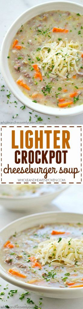 Cheeseburger soup made easy in the crockpot! Super-creamy and ultimately comforting, the whole family will adore this lighter twist on classic cheeseburger soup.