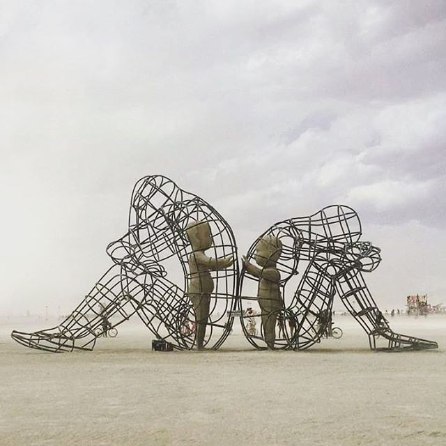 AlexandrMilov, Ukraine. It demonstrates a conflict between a man and a woman as well as the outer and inner expression of human nature. The figures of the protagonists are made in the form of big metal cages, where their inner selves are held captive. Their inner selves are expressed in the form of transparent children, who are holding out their hands through the grating.