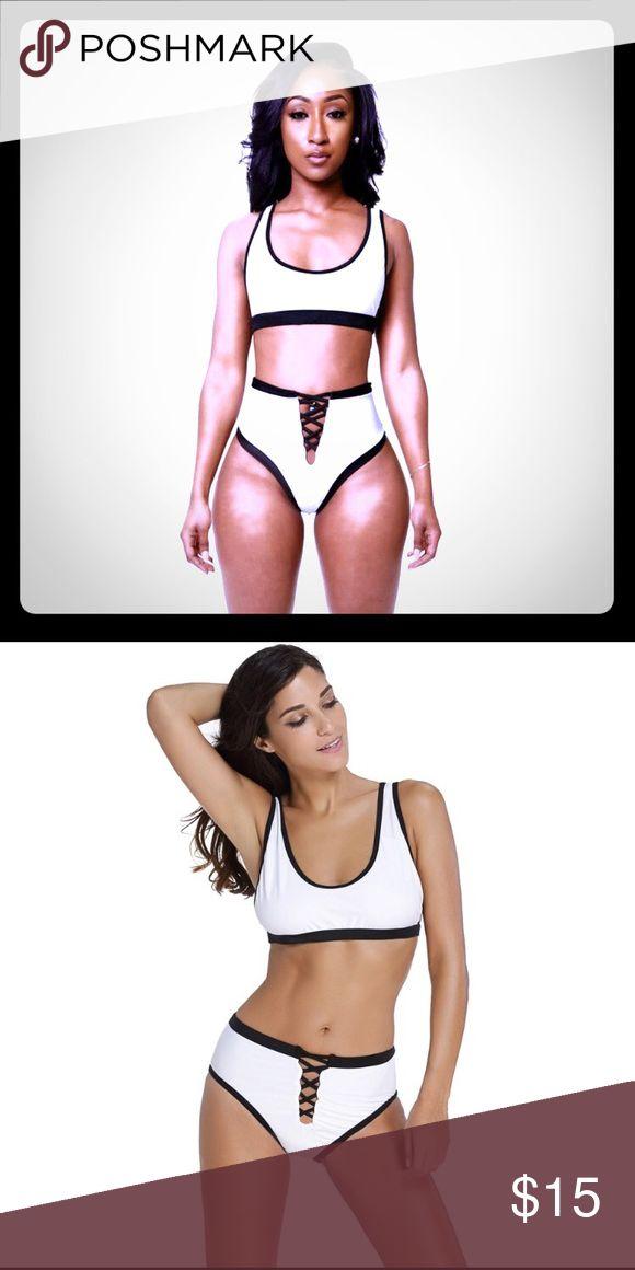 High waited 2 piece bathing suit Black and white - high waisted bottom bathing suit Swim Bikinis