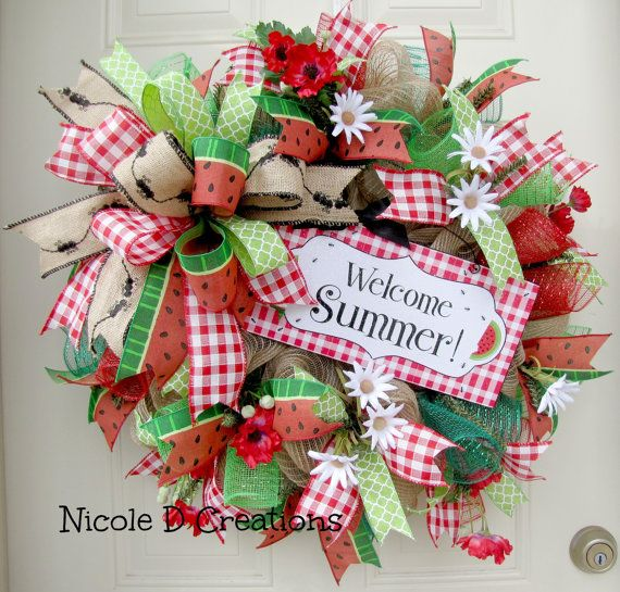 Spring Wreaths Summer Wreaths Front Door Wreaths Deco Mesh