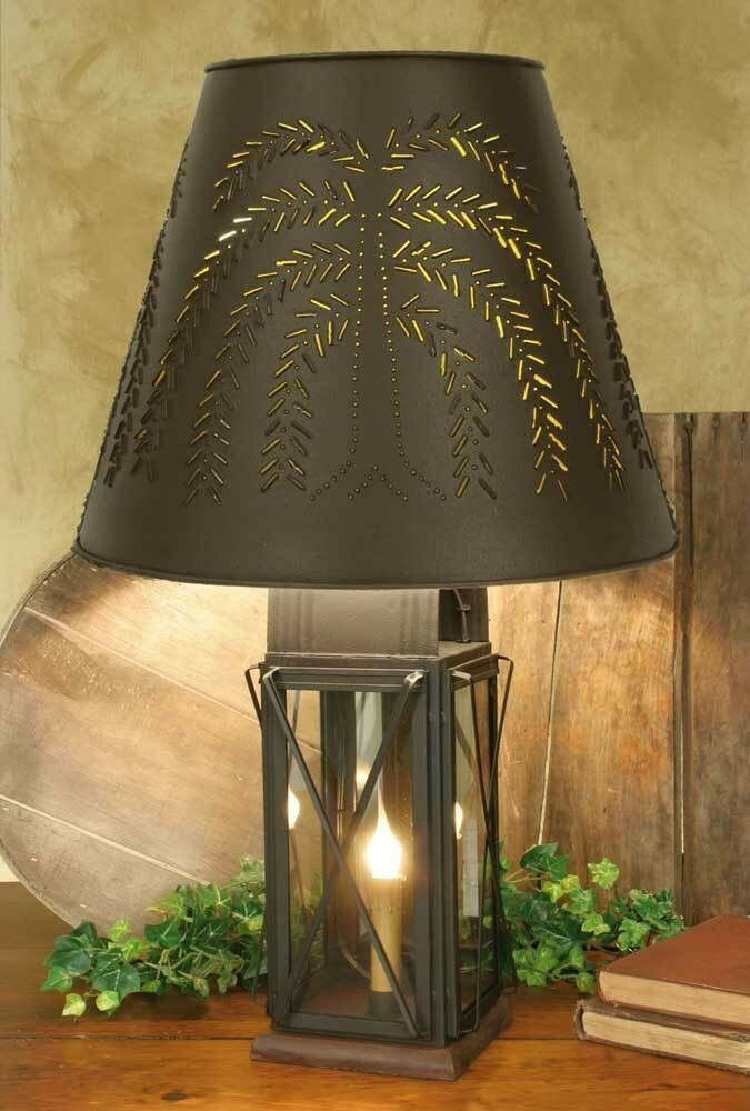 Farmhouse Milk House Tin Table Lamp Willow Shade 4 Way Large