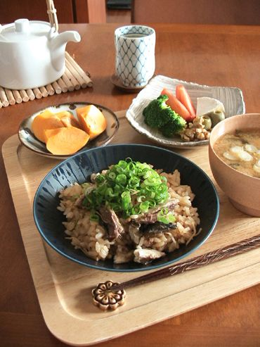 Japanese Breakfast (Fish Mixed Ginger Soysauce Rice, Miso Soup, Boiled Veggies and Fresh Fruits)