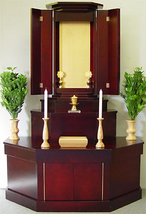 Love the cherry finish. This, or something like it would look nice for our prayer room. butsudan.com