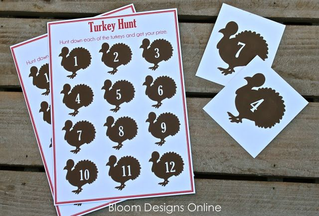 Turkey Hunt game for the kids (free printable)