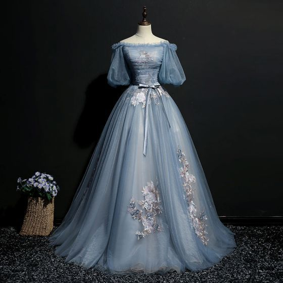 Elegant Sky Blue Prom Dresses 2018 Ball Gown Bow Embroidered Off-The-Shoulder Short Sleeve Floor-Length / Long Formal Dresses